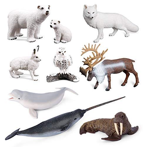 Sea Creature Toys VOLNAU 9PCS Arctic Circle Ocean Sea Animals Figurines for Toddlers Kids Christmas Birthday Gift Plastic Fish Toys Figures Preschool Pack and Bath Sets Polar Bear