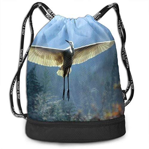 Kordelzug-Rucksack mit Kranichfliegen im Himmel, Sporttasche, Reisetasche, Rucksack