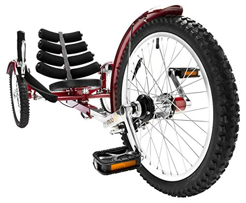 Mobo Cruiser Shift 3-Wheel Recumbent Bicycle Trike. Reversible Adult Tricycle Bike, red , 20-Inch