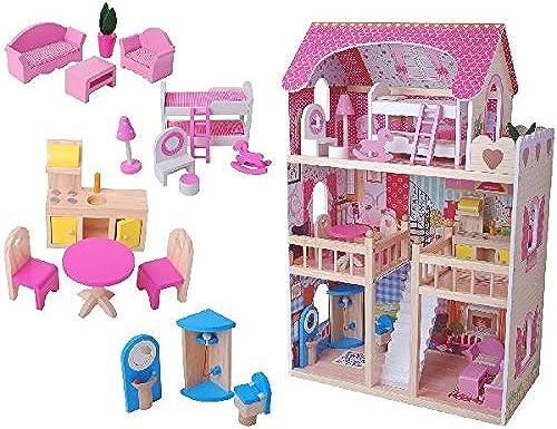 Leomark Puppenhaus  Aus Holz Mit M ln Und Zubeh Bunt Dolls House Plus Furniture Set Festnight 3-Stückiges Holz Puppenhaus Puppenstube Holzpuppenhaus