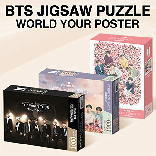 BTS JIGSAW PUZZLE WORLD TOUR POSTER [ THE WINGS TOUR + LOVE YOURSELF + SPEAK YOURSELF ] 3 VER SET. Puzzle(1000-piece)+Foldable Panel+Photo Card+Book Mark+TRACKING CODE K-POP SEALED