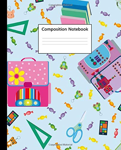 Composition Notebook: Wide Ruled Notebook and Journal - Adorable Girly School Backpack Blank Wide Lined Diary for Writing, Notes and Brilliant Ideas