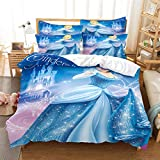 MANXI Blue Kids Bedding Set Girls Princesses Cinderella and Bella Duvet Cover and Pillow Cases 3 Pieces,Queen (Twin (68'' x 86''))
