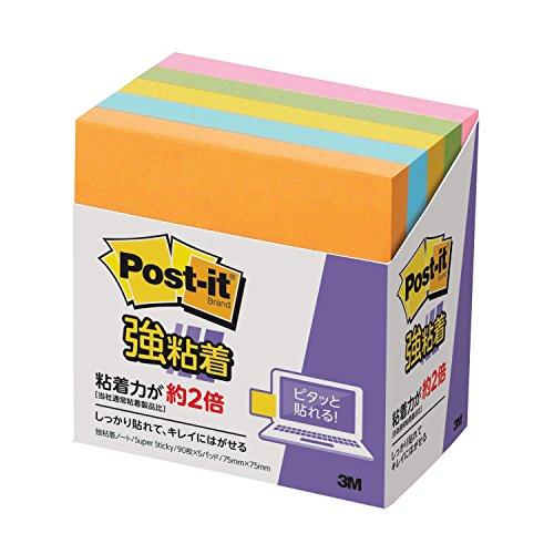 ポストイット 付箋 強粘着 ノート ネオンカラー 75×75mm 90枚×5冊 654-5SSAN