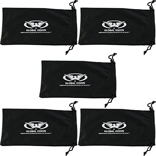 Global Vision Eyewear Cinco grandes bolsas negro de microfibra gafas de sol gafas teléfono celular Funda blanda de funda de transporte