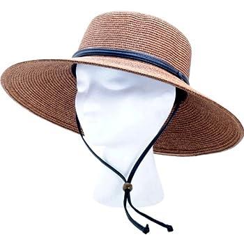 Sloggers Women s Wide Brim Braided Sun Hat with Wind Lanyard - Dark Brown - UPF 50+ Maximum Sun Protection Style 442DB01