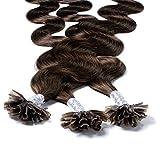 Hair2Heart 100 x 0.5g Extension Capelli Veri Cheratina - 40cm, colore #4 Marrone Cioccolat...