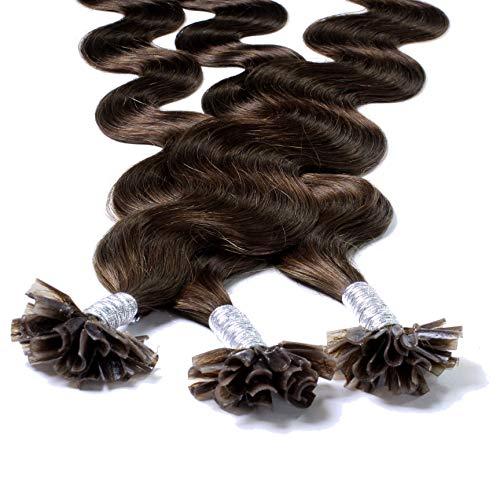 hair2heart 50 x 1g Echthaar Bonding Extensions, gewellt - 50cm - #4 braun