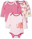 Schnizler Baby-Mädchen Langarm, 3er Pack Eule, Oeko-Tex Standard 100 Body, Rosa (original 900), 50 (Herstellergröße: 50/56)
