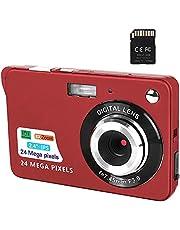 Fotocamera digitale, 2,4 pollici FHD Fotocamere tascabili Fotocamera ricaricabile da 24 MP per backpacking con zoom digitale 8X Fotocamere compatte per fotografia Scheda SD da 32 GB inclusa (C3P-Red)