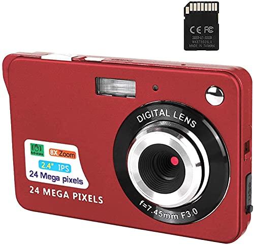 Cámara Digital, cámaras de Bolsillo FHD de 2,4 Pulgadas Cámara Recargable de 24 MP para mochileros con Zoom Digital 8X Cámaras compactas para fotografía Tarjeta SD de 32 GB incluida (C3P-Red)
