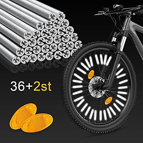 KAPBOP 3M Speichenreflektoren, StVZO zugelassen Speichenreflektoren Fahrrad, 36 Fahrradspeichen Reflektor und 2 gelb Katzenaugen