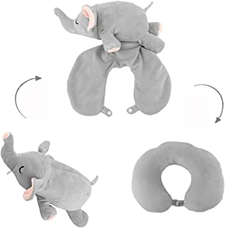 Ytzada Elephant Neck Pillow Travel Pal Travel Pillow Stuffed Animal Perfect for Airplane, Car, Converts from U Shaped Pillow to Stuffed Plush Animal Toy for Kids, Boys, Girls and Any Age