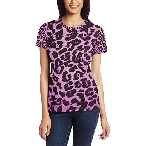Paarse dierenprint vrouwen casual T-shirt korte mouw tuniek tops ronde hals blouse Comfy