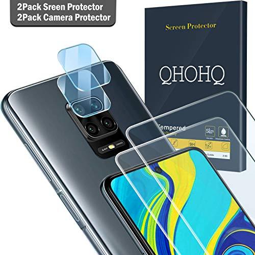 QHOHQ 2 Stück Schutzfolie für Xiaomi Redmi Note 9S/Note 9 Pro/Poco M2 Pro mit 2 Stück Kamera Schutzfolie, Panzerglas Membran [9H Härte] - HD - [Anti-Kratz]
