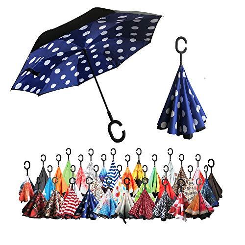 Guarda-chuva invertido Sharpty, guarda-chuva à prova de vento, guarda-chuva invertido, guarda-chuvas para mulheres com proteção UV, guarda-chuva de cabeça para baixo com alça em forma de C (azul polkadots)