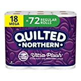 Quilted Northern Ultra Plush Toilet Paper, 18 Mega 72 Regular Rolls, 3-Ply Bath Tissue, Count (Pack of 1), White 5112