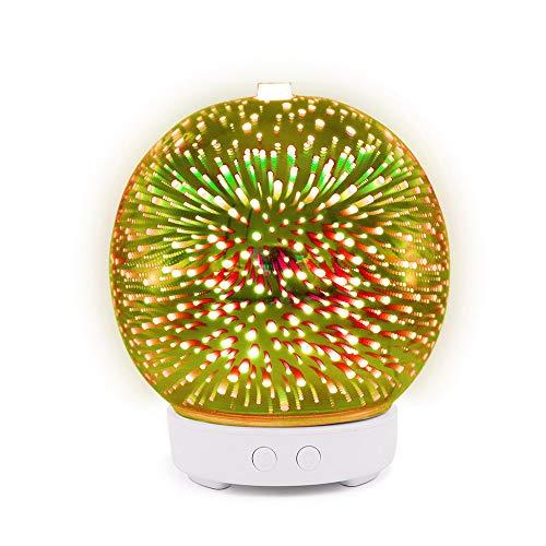 Anself Humidificador de Aromaterapia de Vidrio 3D Difusor de Aceites Esenciales Mute Mist Maker Apagado Automático sin Agua con 7 luces LED de color Base blanca y luz LED