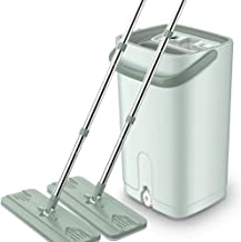 JUAN Stainless Steel Deluxe Rolling Spin Mop with 4 Microfiber Mop Heads,Hand-free Flat Mop Rotating Home Wood Floor Tile ...