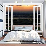 KEIRUNNRUGS Creative Window Wall Sticker Wall Mural Grassland Scenery Backround at Sunset Self Adhesive Removable Wall Decal Posters Wall Art Decor for Living Room 100x144inch