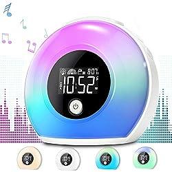 Uplayteck Light Alarm Clock for Kids - Wake Up Alarm Clock Bluetooth Speaker Night Light for Girl - Tap to Change Color Lights - Digital LED Clock