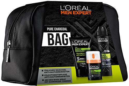 L'Oréal Men Expert Pure Charcoal Bag, Geschenkset, für Männer gratis Kulturtasche, Waschgel (100 ml), 24H Feuchtigkeitspflege (50 ml) und 48H Antitranspirant Deo (150 ml)