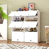 HOMEYFINE Zapatero, Sostén de Almacenamiento portátil de Zapatos, Cubos de Armario modulares para Ahorrar Espacio, Cajas de Almacenamiento de Zapatos y Zapatillas, Blanco(2/5)