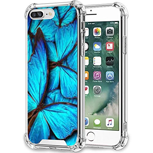 FAUNOW iPhone 7/8 Plus funda transparente mariposa azul TPU bordes protección funda para iPhone 7/8 Plus
