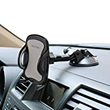 OHLPRO 車 スマホホルダー,粘着ゲル 真空 吸盤 ダッシュボード フロントガラス,360度回転車載ホルダー, 4-6インチ スマホスタンド(シルバー)