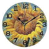 Reloj de Pared Girasol Brillante Campo Amarillo Reloj Redondo de acrílico Números Negros Reloj silencioso sin tictac