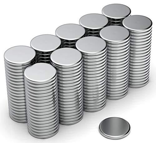 NeoMagNova 200 Stück Mini Neodym Magnet 8x1mm, starke Magnete für Magnettafel, Whiteboard, Kühlschrank, Basteln, Neodym Magnete klein und sehr flach N42