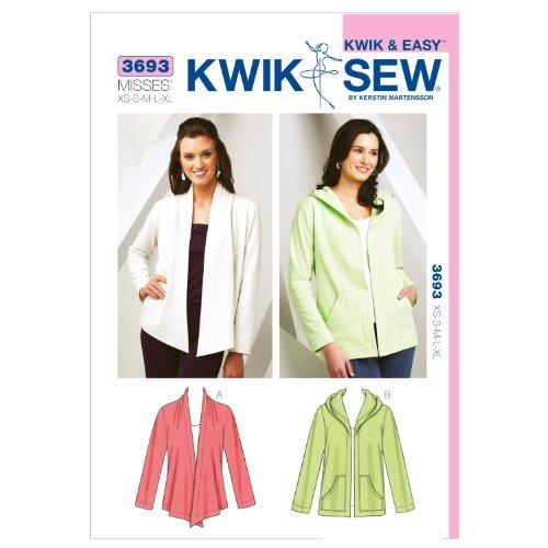 Kwik Sew Mustern k3693, Größe XS klein–mittel–groß–Extra große Jacken, weiß, 1Stück