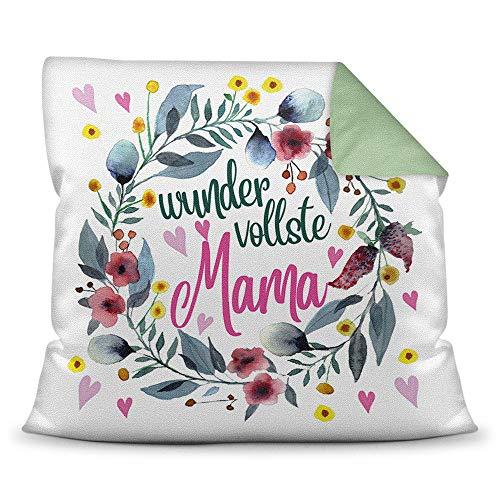 Print Royal Kissen mit Spruch für Mama - Wundervollste Mama - inkl. Kissenfüllung - Deko-Kissen/Geschenk-Idee Geburtstag Muttertag/Bestes Farbkissen Rückseite Seegrün
