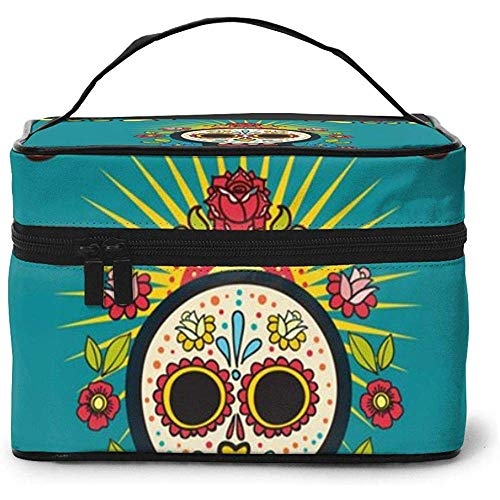 Mexican Day Dead Skulls Portable Ladies Travel Cosmetic Case Bag Storage Makeup Pouch Multi-Function Wash Large Capacity