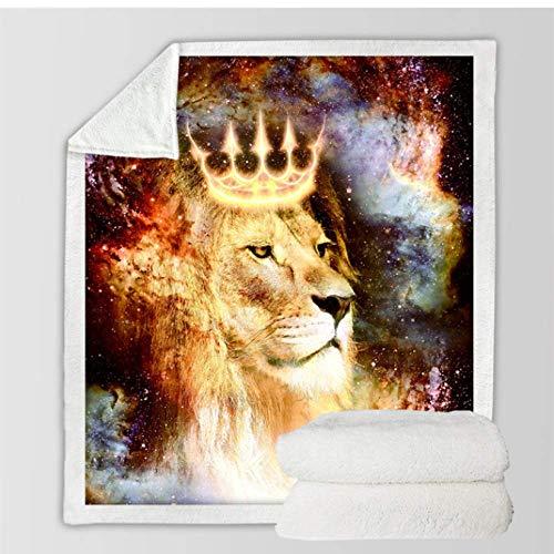FVNJHL Bettwäsche Lion King Decken für Bett Universum Cosmic Space Throw Blanket Tier mit Crown Blanket 3D-gedruckte Throw Blanket 150 * 200Cm
