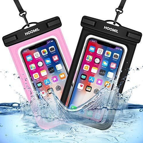 HOOMIL Funda Impermeable Móvil Universal de 6.5 Pulgadas, 2 Unidades IPX8 Bolsa Móvil Estanca para iPhone 12 Mini/12 Pro/12 Pro MAX, Huawei P Smart 2020/P Smart 2019, Huawei P30 Lite - Negro+Rosado