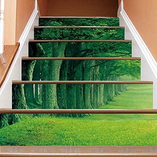 Etiqueta Engomada Del Arte De La Pared, 6Pieces / Set Green Trees Césped, Simulación 3D Pegatinas De Escalera Extraíbles, Pasos Impermeables Pegatinas De Pared Decorativas Inicio