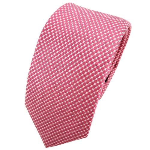 TigerTie - corbata de seda estrecha - rojo rosé plata lunares