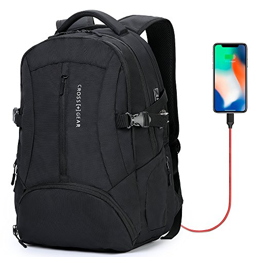 Cross Gear TSA Laptop Backpack with USB Charging Port and Combination Lock Waterproof - Fits Most 17.3 Inch Laptops and Tablets CR-8112BKXL