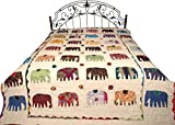 Funda de edredón de Jodhpur con Bordado de Elefantes y Punto Kantha – algodón Puro – Color Lino Color Blanco