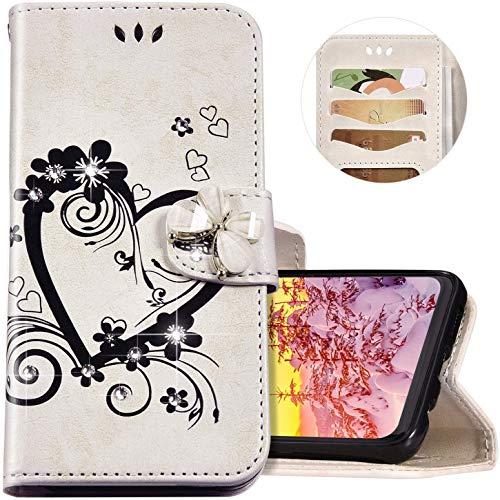 Felfy Wallet Funda in Piel Compatible con Xiaomi Mi A1 Carcasa,Compatible con Funda Xiaomi Mi 5X Cuero Blanco Case,Brillante Brillo Mariposa Diamante Amor Diseño Billetera Libro Flip PU Case