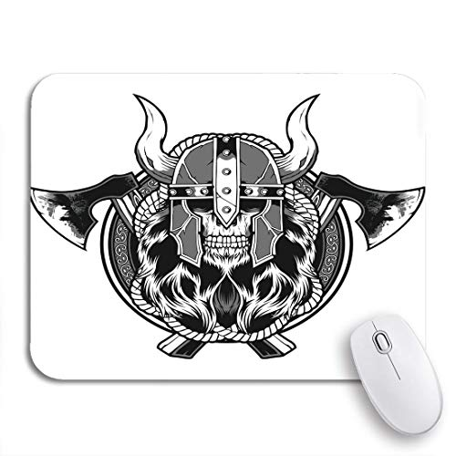Gaming Mouse Pad Wikinger Schädel Barbar Axt Tattoo Krieger Ancient Battle Schwarz Rutschfeste Gummi Backing Computer Mousepad für Notebooks Maus Matten