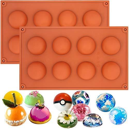 Lot de 2 moules Musykrafties - En silicone - Formes de demi-sphères - Pour petits gâteaux, Silicone, aléatoire, Taille M