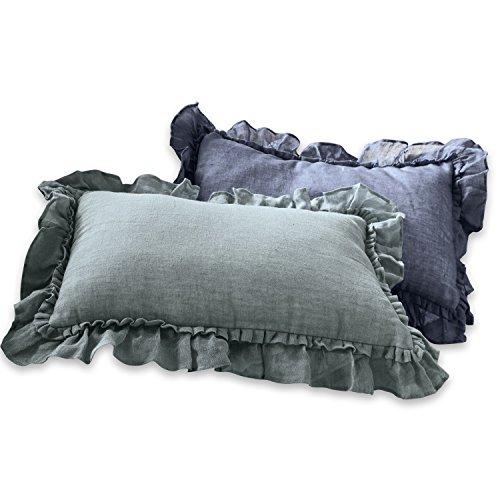 Loberon Kissen 2er Set Maelys, Leinen/Polyester, H/B ca. 40/60 cm, blau/grau