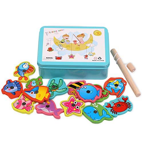 Juego de juguetes de pesca magnéticos con varilla de plástico flotante peces educación enseñanza y aprendizaje colores océano mar animales cerebrales juego