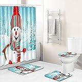 Duschvorhang Waldschneemann Cyan Shower Curtains 4-Teiliges Set, 1 Duschvorhang 180x180 Polyester+1 Badteppich rutschfeste(45x75)+1 U-Typ Wasseraufnahme Teppich+1 Toilettensitzkissen