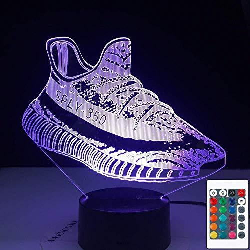 YOUPING Lámpara de ilusión 3D Led Luz de Noche Zapatillas Zapatillas Forma Sensor Táctil Control Yeezy Boost Zapatos Niño Presente Lámpara de Mesa 7 Colorido con Control Remoto