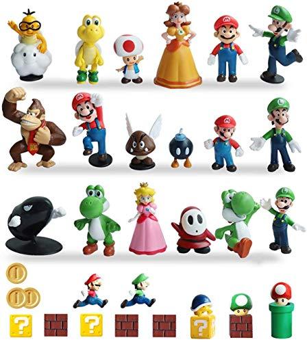 Pantyshka 33 PCS Super Mario Action Figures,Super Mario Bros Toys Figurines Peach Daisy Princess,Luigi,Yoshi,Mario Toys for Boys,Perfect Mario Cake Topper Decorations