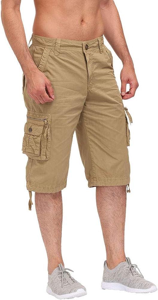 ESTRIVER Men's Long Cargo Max 46% OFF Shorts Charlotte Mall Cotton Durable Work