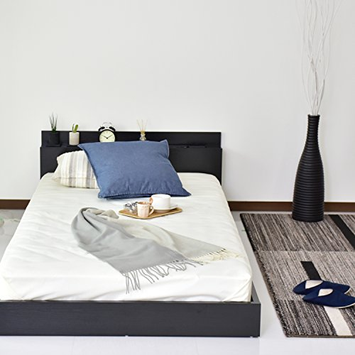 『DORIS ベッド ベッドフレーム シングル ロータイプ 組立式 コンセント付 ブラック アトラス』の2枚目の画像